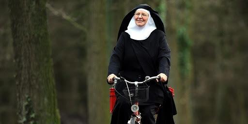 Sister Victoria rides her bike
